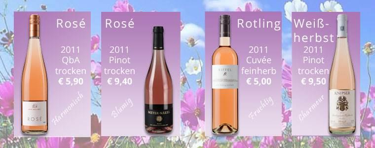 Erfrischende Sommerweine als Rosé, Rotling und Weißherbst.