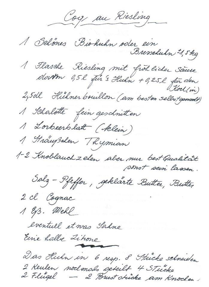 Coq au Riesling - Rezept von Léa Linster